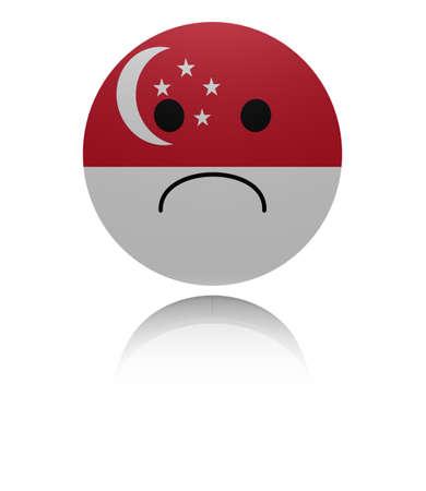 reflection: Singapore sad icon with reflection illustration