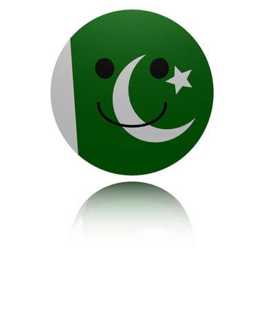 pakistani: Pakistan happy icon with reflection illustration