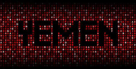 yemen: Yemen text on hex code illustration Stock Photo