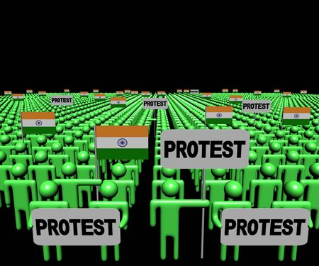 demonstrate: Crowd of people with protest signs and Indian flags illustration