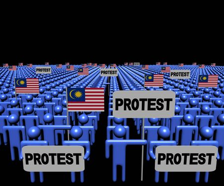 multitude: Crowd of people with protest signs and Malaysian flags illustration