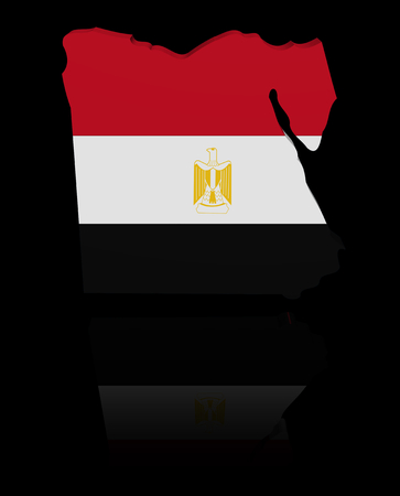 in reflection: Egypt map flag with reflection illustration Stock Photo