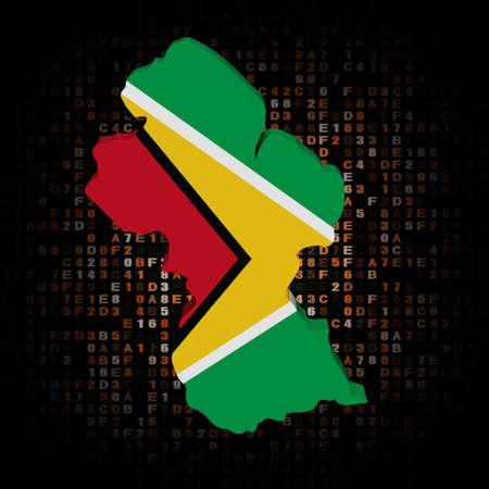 hex: Guyana map flag on hex code illustration