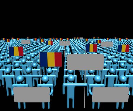 romanian: Crowd of people with signs and Romanian flags illustration Stock Photo