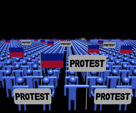 haitian: Crowd of people with protest signs and Haitian flags illustration