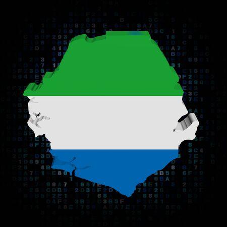 sierra leone: Sierra Leone map flag on hex code illustration