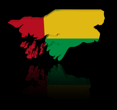 in reflection: Guinea Bissau map flag with reflection illustration