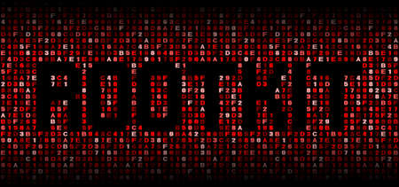 malicious software: Rootkit text on hex code illustration