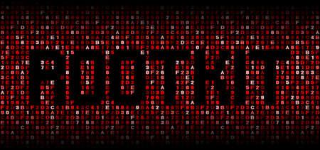 Rootkit text on hex code illustration