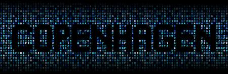 hex: Copenhagen text on hex code illustration