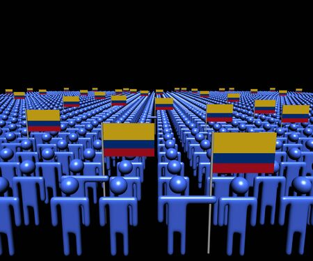 multitude: Crowd of abstract people with many Colombian flags illustration