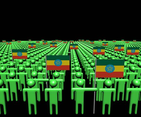 ethiopia abstract: Crowd of abstract people with many Ethiopian flags illustration