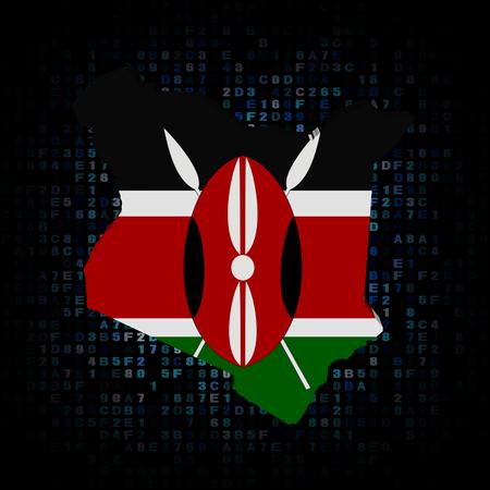 kenya: Kenya map flag on hex code illustration Stock Photo