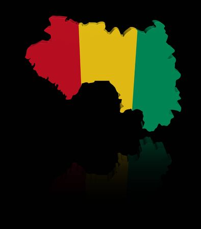 in reflection: Guinea map flag with reflection illustration