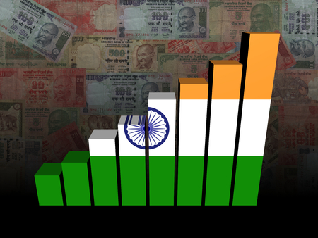 financial graph: Indian flag bar chart over Rupees illustration Stock Photo