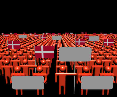 danish: Crowd of people with signs and Danish flags illustration