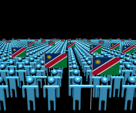 multitude: Crowd of abstract people with many Namibia flags illustration