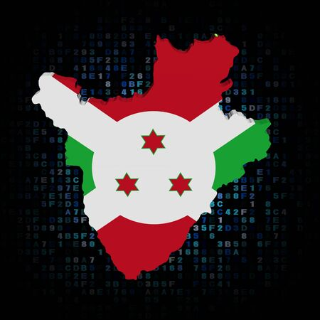 burundi: Burundi map flag on hex code illustration