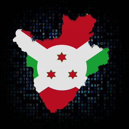 hex: Burundi map flag on hex code illustration