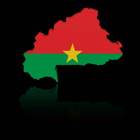 in reflection: Burkina Faso map flag with reflection illustration Stock Photo