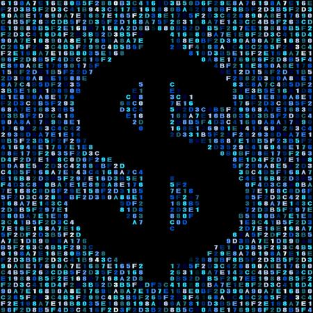 hex: Dollar symbol on blue hex code illustration