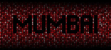 mumbai: Mumbai text on hex code illustration