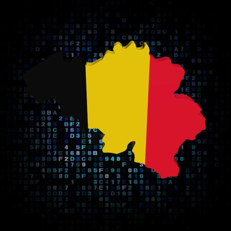 hex: Belgium map flag on hex code illustration Stock Photo