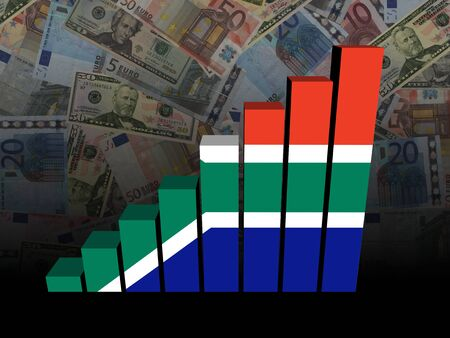 economic growth: South African flag bar chart over Euros and Dollars illustration Stock Photo