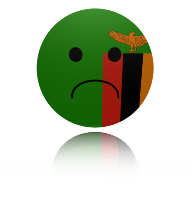 in reflection: Zambia sad icon with reflection illustration