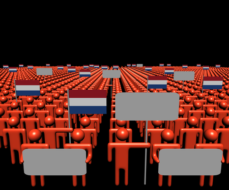 multitude: Crowd of people with signs and Dutch flags illustration