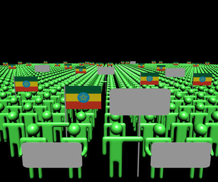 ethiopia abstract: Crowd of people with signs and Ethiopian flags illustration