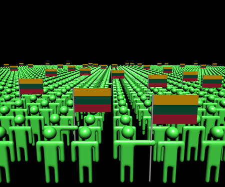 multitude: Crowd of abstract people with many Lithuanian flags illustration