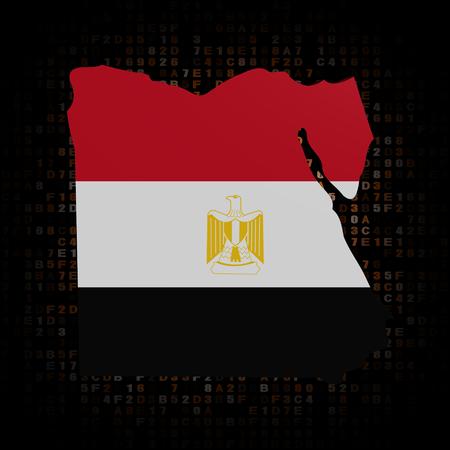 hex: Egypt map flag on hex code illustration