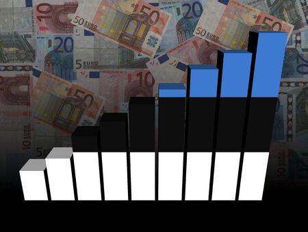 estonian: Estonian flag bar chart over euros illustration