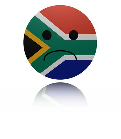 in reflection: South Africa sad icon with reflection illustration