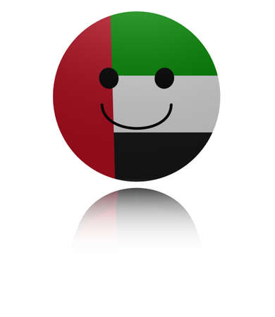 in reflection: UAE happy icon with reflection illustration