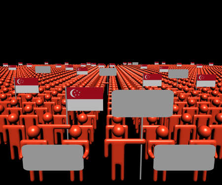 multitude: Crowd of people with signs and Singapore flags illustration Stock Photo