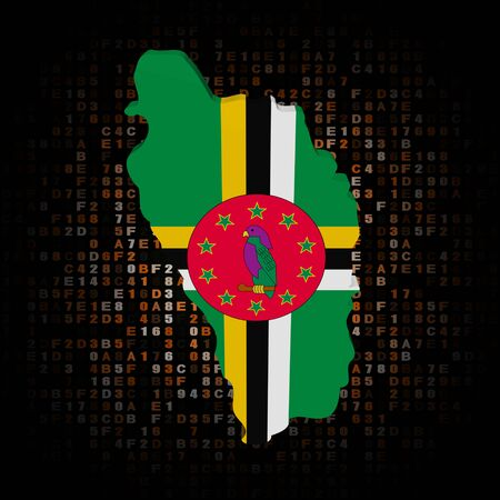 dominica: Dominica map flag on hex code illustration Stock Photo