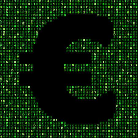 hex: Euro symbol on green hex code illustration