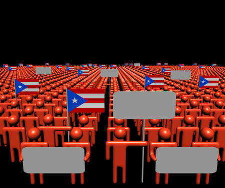 multitude: Crowd of people with signs and Puerto Rico flags illustration
