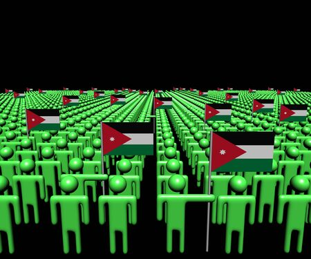 multitude: Crowd of abstract people with many Jordanian flags illustration