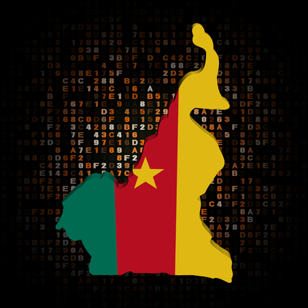 cameroon: Cameroon map flag on hex code illustration