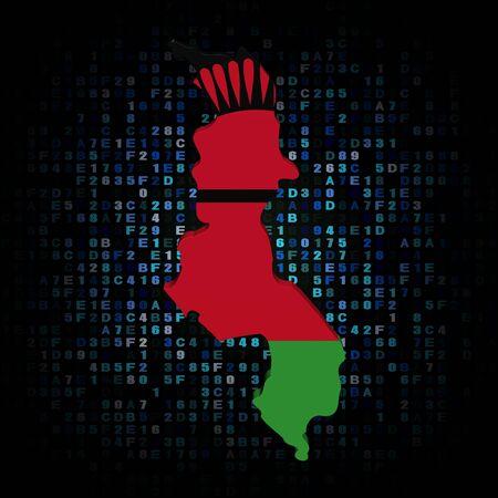 hex: Malawi map flag on hex code illustration