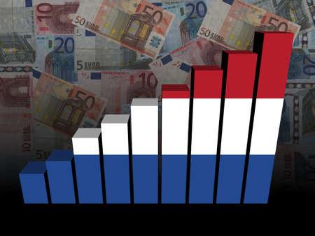 dutch: Dutch flag bar chart over euros illustration