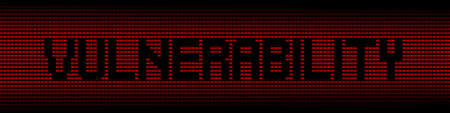 cyber warfare: Vulnerability text on red laptops background illustration