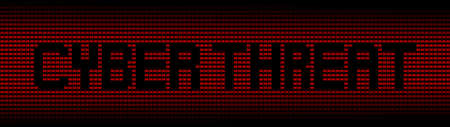 cyber war: Cyber threat text on red laptops background illustration Stock Photo