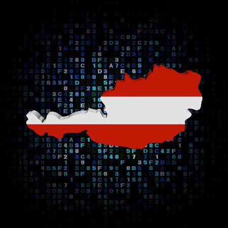 austria map: Austria map flag on hex code illustration