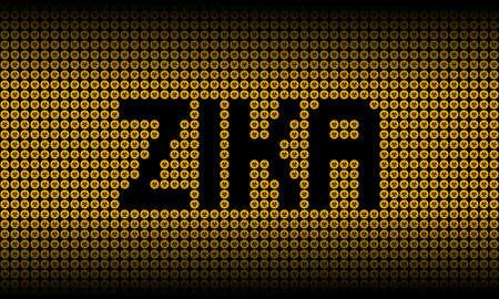malady: Zika text on biohazard warning symbols illustration