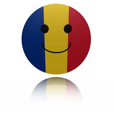 in reflection: Romania happy icon with reflection illustration Stock Photo