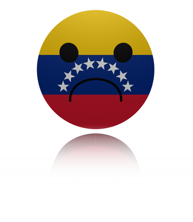 sorrowful: Venezuela sad icon with reflection illustration